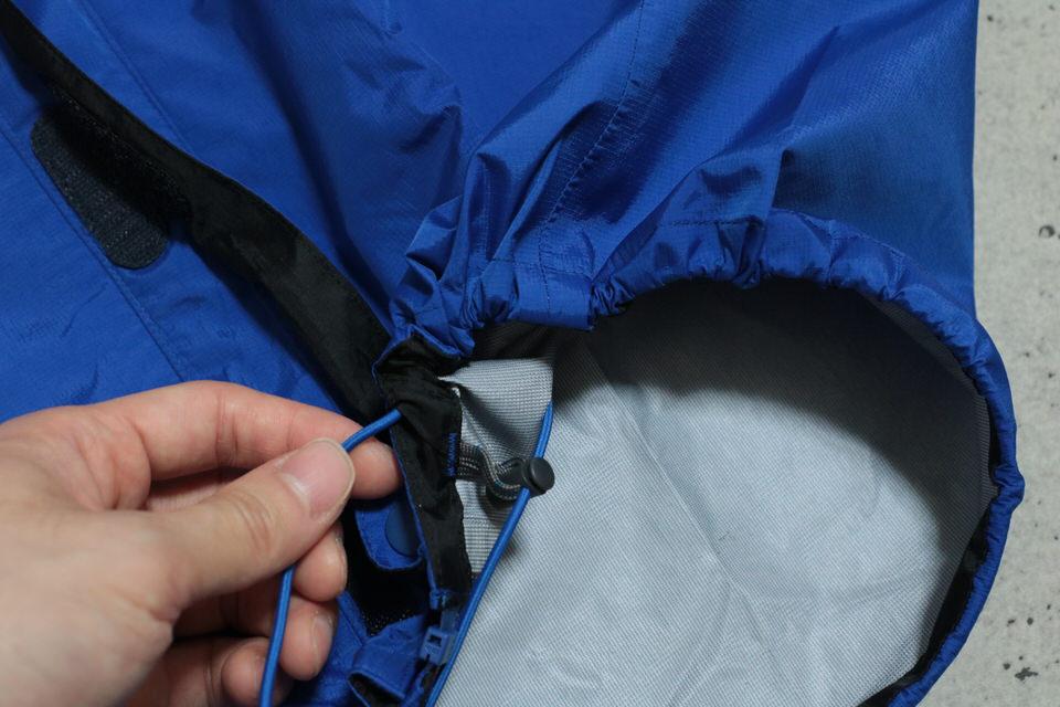 サンダーパスジャケットの裾 ゴムバンド