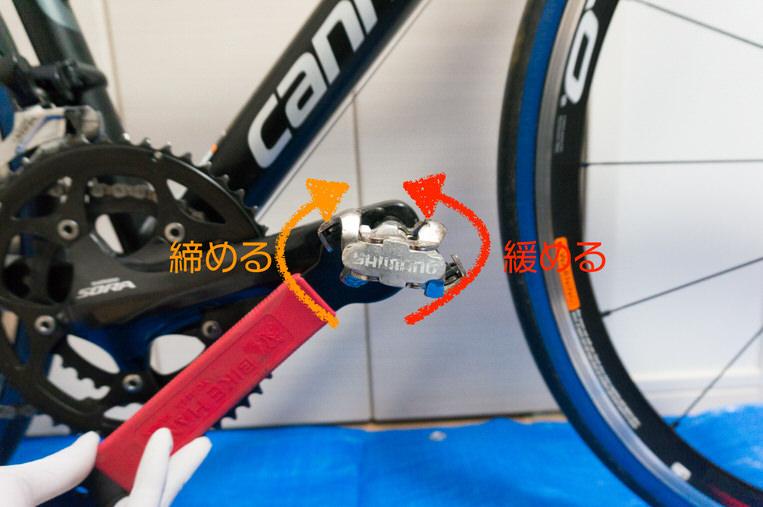 右ペダルの回し方は正面から見て「右回転:締まる 左回転:緩まる」